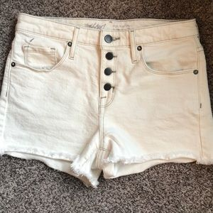 Mission Off White Button Fly Jean Shorts